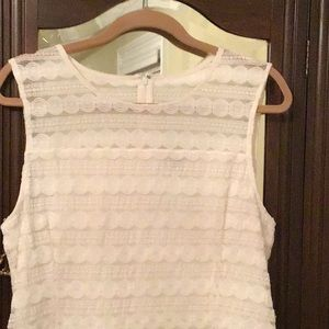 Ann Taylor new sleeveless off white lace top